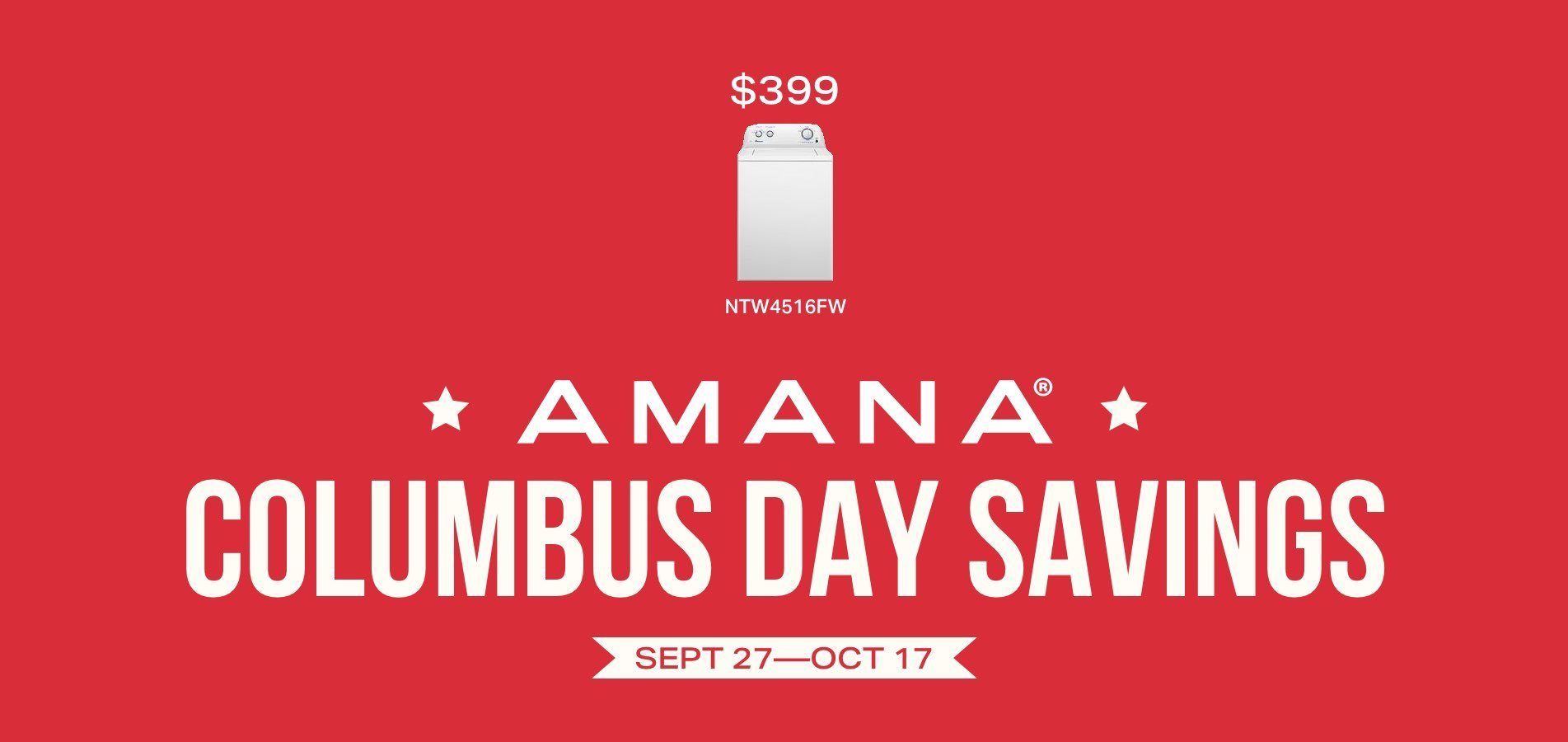Amana Columbus Day Savings