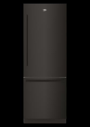 "Beko 30"" Carbon Fiber Freezer Bottom Built-In Refrigerator with Auto Ice Maker, Water Dispenser"