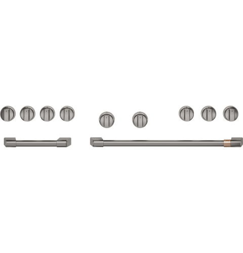 """Cafe Café™ 48"""" Brushed Black Handle & Knob Set for Pro Range and Rangetop"""