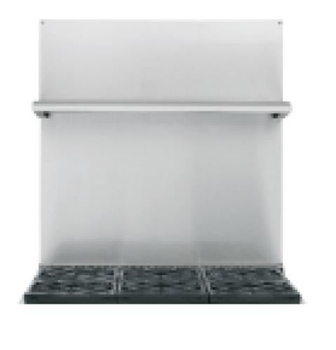 "Cafe 30""-36""H Stainless Steel Adjustable Height Backsplash with Shelf"