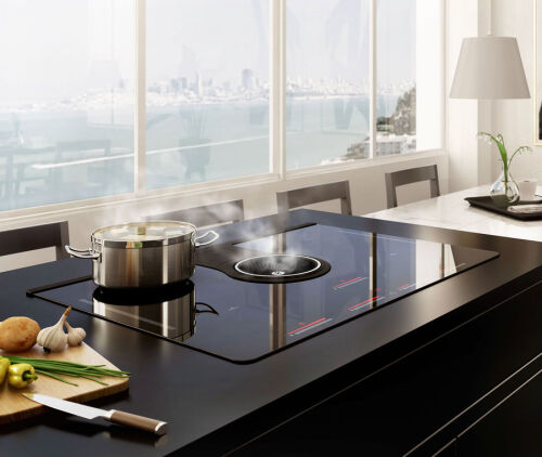"Elica 33"" Induction Cooktop with downdraft exhaust"