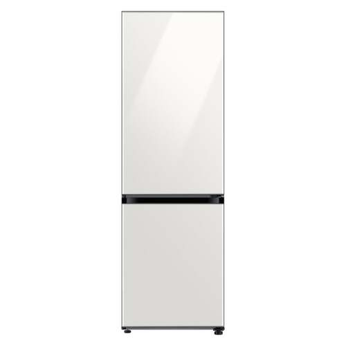 Samsung 12.0 cu. ft. BESPOKE Bottom Freezer refrigerator with customizable colors and flexible design in White Glass