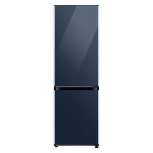 Samsung 12.0 cu. ft. BESPOKE Bottom Freezer refrigerator with customizable colors and flexible design in Navy Glass