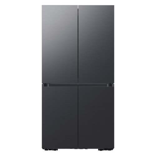 Samsung 23 cu. ft. Smart Counter Depth BESPOKE 4-Door Flex Refrigerator with Customizable Panel Colors in Matte Black Steel