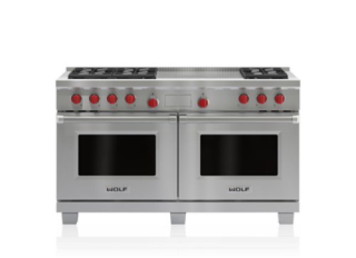 "Wolf 60"" Dual Fuel Range - 6 Burners and French Top"