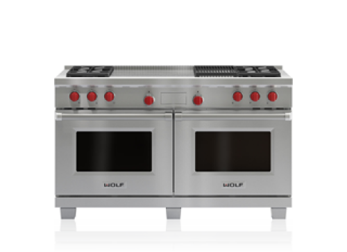 "Wolf 60"" Dual Fuel Range - 4 Burners, Infrared Charbroiler and French Top"
