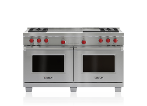 "Wolf 60"" Dual Fuel Range - 4 Burners, Infrared Griddle and French Top"