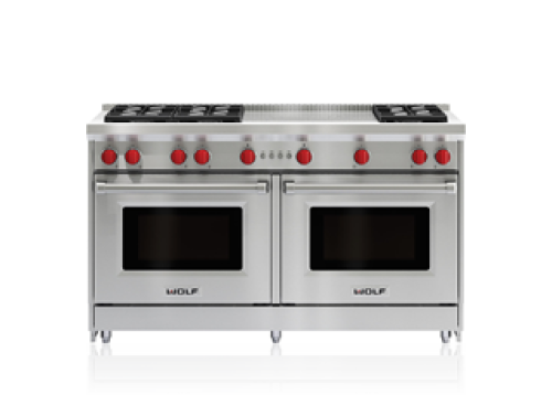 "Wolf 60"" Gas Range - 6 Burners and French Top"