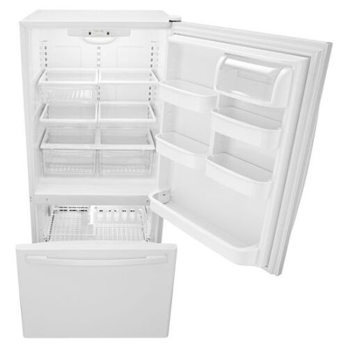 Model: ABB2224BRW | Amana 33-inch Wide Bottom-Freezer Refrigerator with EasyFreezer™ Pull-Out Drawer - 22 cu. ft. Capacity