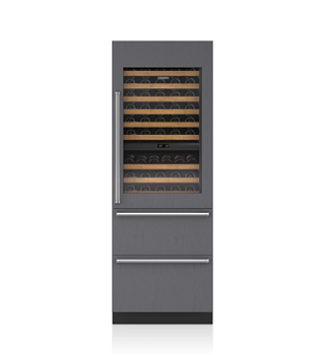 "Sub-Zero 30"" Designer Wine Storage with Refrigerator Drawers - Panel Ready"