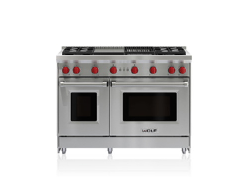 """Wolf 48"""" Gas Range - 4 Burners, Infrared Charbroiler and Infrared Griddle"""
