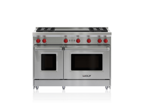 """Wolf 48"""" Gas Range - 4 Burners and Infrared Dual Griddle"""