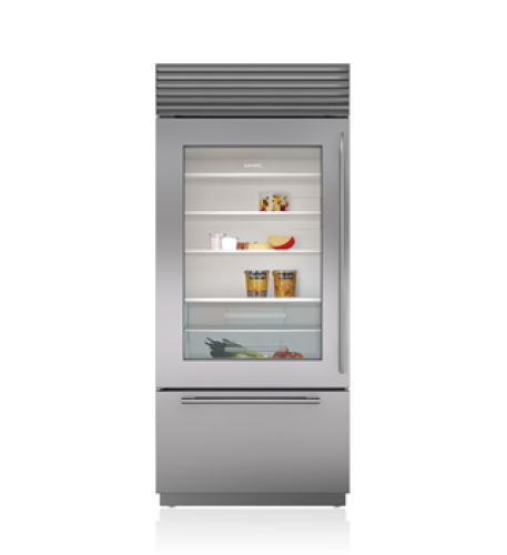 "Sub-Zero 36"" Classic Over-and-Under Refrigerator/Freezer with Glass Door"