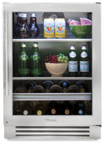 True  24 Inch Beverage Center with Right Hinge Stainless Trim Door