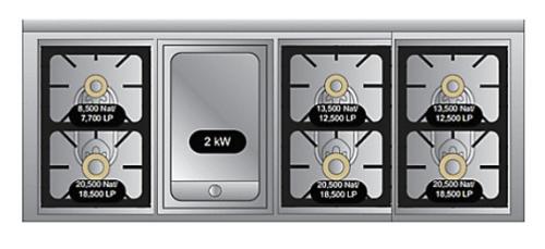 "Model: TVDR6606GGB | Viking VIKING TUSCANY 66"" DF RANGE 6 BURNER/GRIDDLE GB"