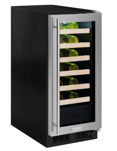 "Marvel  Marvel 15"" High Efficiency Single Zone Wine Refrigerator Smooth Black Frame, Glass Door"