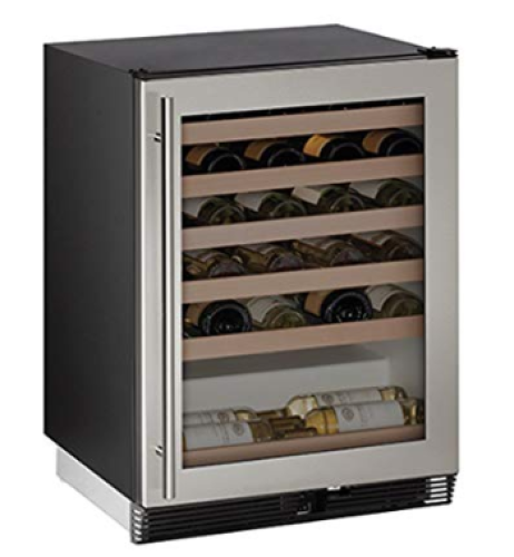 Model: U-1024WCS-00B | U-Line 24-In. 1000 Series Stainless Frame Wine Captain with Reversible Door Hinge
