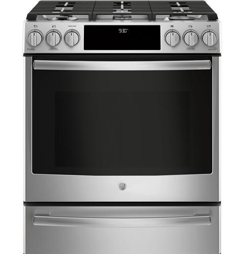 "GE Profile GE Profile™ Series 30"" Dual Fuel Slide-In Front Control Range"