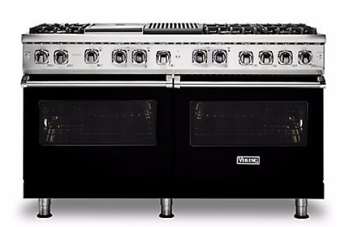 "Viking PRO FREESTANDING DUAL FUEL 60""W W/GRIDDLE & GRILL RANGE- BK"