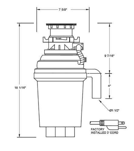 Model: XOD34HPBF | XO Appliances 3/4 HP 10 Year Warranty, Batch Feed waste disposer