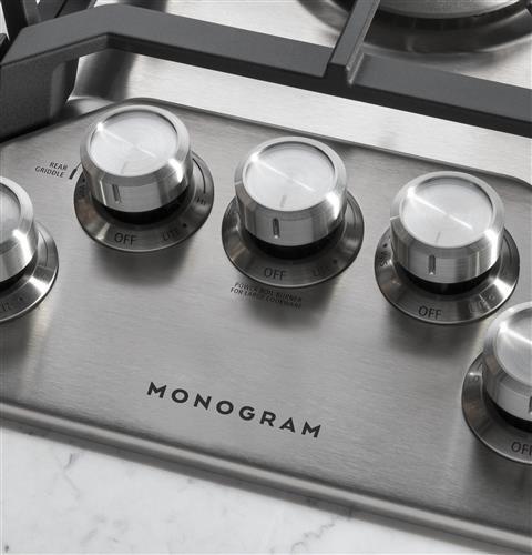 "Model: ZGU36RSLSS | Monogram Monogram 36"" Deep-Recessed Gas Cooktop (Natural Gas)"