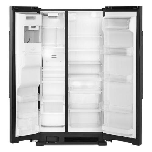 Model: MSS25C4MGB | Maytag 36-Inch Wide Side-by-Side Refrigerator with Exterior Ice and Water Dispenser - 25 Cu. Ft.