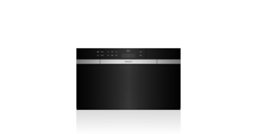 "Wolf 30"" M Series Contemporary Black Glass Convection Steam Oven with Retractable Handle"