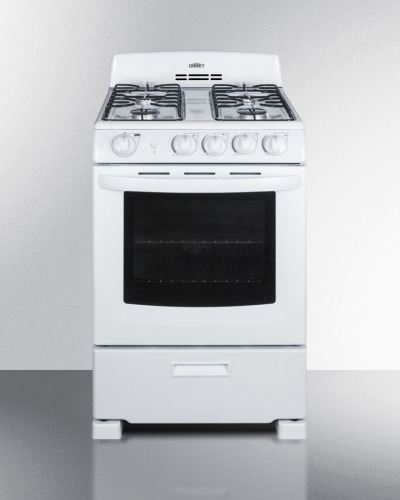 "Summit 24"" wide gas range in white with electronic ignition"