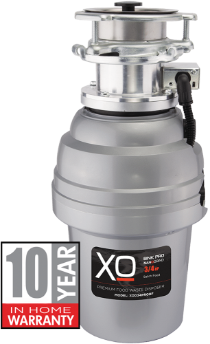 XO Ventilation 3/4 HP 10 Year Warranty, Batch Feed waste disposer -  3 Bolt Mounting