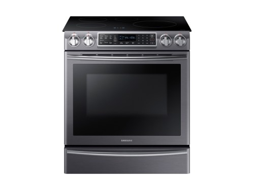 Model: NE58R9560WG | Samsung 5.8 cu. ft. Slide-In Induction Range with Virtual Flame™ Technology in Black Stainless Steel
