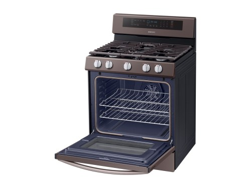 Model: NX58R6631ST   Samsung 5.8 cu. ft. True Convection Freestanding Gas Range with Illuminated Knobs in Tuscan Stainless Steel