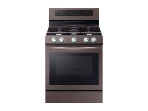 Model: NX58R6631ST | Samsung 5.8 cu. ft. True Convection Freestanding Gas Range with Illuminated Knobs in Tuscan Stainless Steel