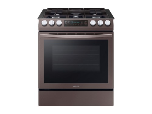 Model: NX58R9421ST | Samsung 5.8 cu. ft. Convection Slide-in Gas Range in Tuscan Stainless Steel