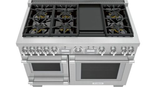 Model: PRD48WDSGU | Thermador 48-Inch Pro Grand® Commercial Depth Dual Fuel Steam Range with Griddle