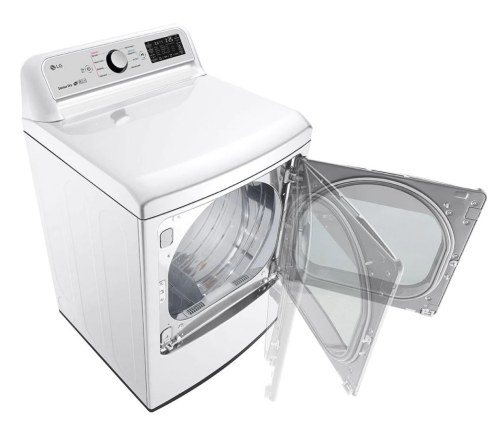 Model: DLE7300WE | LG 7.3 cu. ft. Ultra Large Capacity Smart wi-fi Enabled Top Load Electric Dryer with Sensor Dry Technology