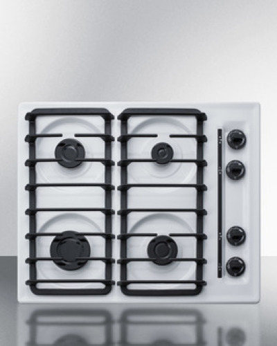 """Summit 24"""" wide sealed burner gas cooktop in white with cast iron grates and spark ignition, made in the USA"""