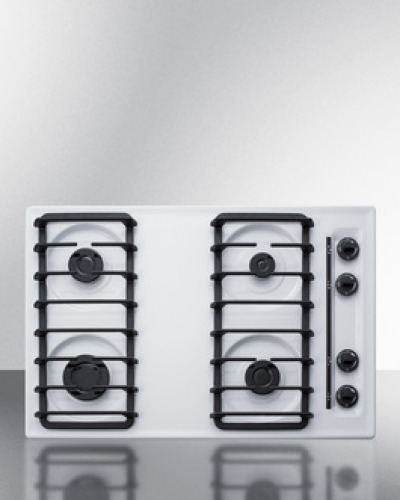 """Summit 30"""" wide sealed burner gas cooktop in white with cast iron grates and spark ignition, made in the USA"""