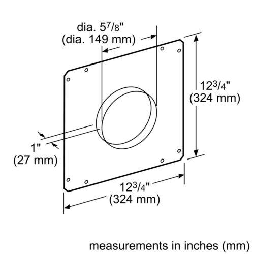 "Model: HDDFTRAN6 | Bosch 6"" Front Rough-In Plate"