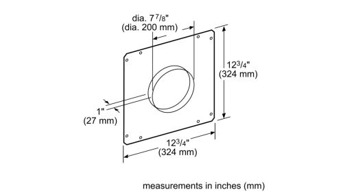 "Model: HDDFTRAN8 | Bosch 8"" Front Rough-In Plate"