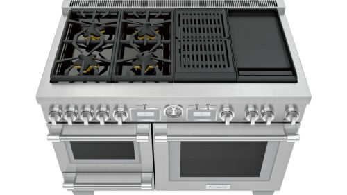 Model: PRD48WCSGU | Thermador 48-Inch Pro Grand® Commercial Depth Dual Fuel Steam Range with Griddle & Grill