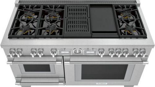 Model: PRD606WCSG   Thermador 60-Inch Pro Grand® Commercial Depth Dual Fuel Steam Range