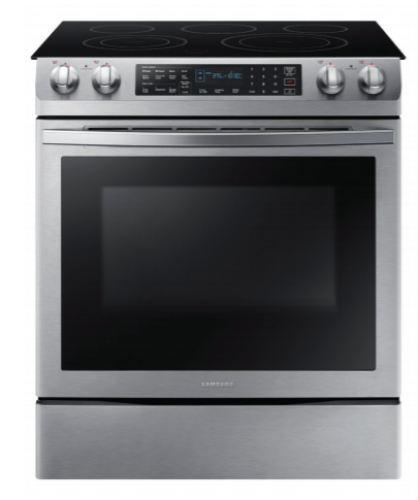 Model: NE58R9431SS | Samsung 5.8 Cubic Foot Slide-in Electric Range with Duel Convection