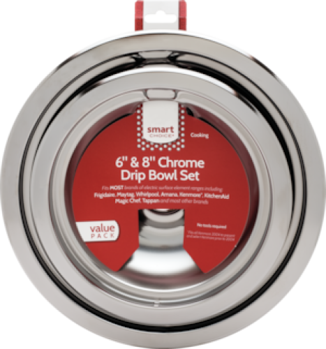 Frigidaire Smart Choice 6'' and 8'' Chrome Drip Bowl Set, Fits Most