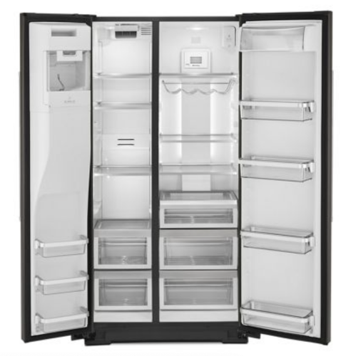 Model: KRSC703HBS   KitchenAid 22.6 cu ft. Counter-Depth Side-by-Side Refrigerator with Exterior Ice and Water and PrintShield™ finish