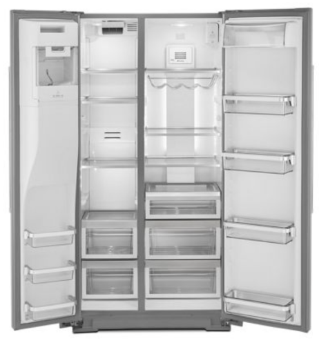 Model: KRSC703HPS | KitchenAid 22.6 cu ft. Counter-Depth Side-by-Side Refrigerator with Exterior Ice and Water and PrintShield™ finish