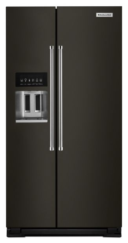 KitchenAid 24.8 cu ft. Side-by-Side Refrigerator with Exterior Ice and Water and PrintShield™ finish