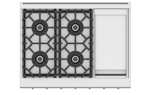 "Hestan 36"" 4-Burner Rangetop with 12"" Griddle"