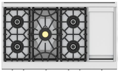"Hestan 48"" 5-Burner Rangetop with 12"" Griddle"