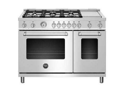 "Bertazzoni NEW!  48"" Master Series range - Electric oven - 6 aluminum burners + griddle"