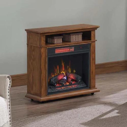 Model: 23RM90293-C232 | Duraflame 31.5-in Wide  Oak Infrared Quartz Electric Fireplace